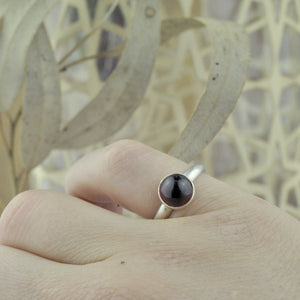 Large Garnet Silver stacking ring.