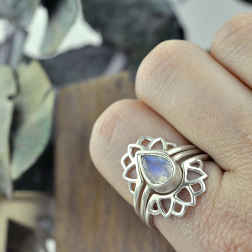 Pear Rainbow Moonstone silver Lotus fitted ring set.