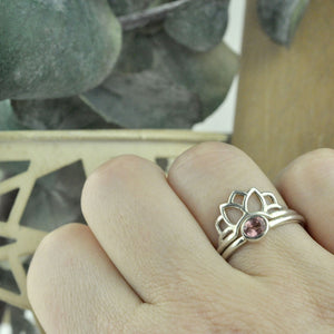 Padparadscha Sapphire Silver Lotus fitted ring Set