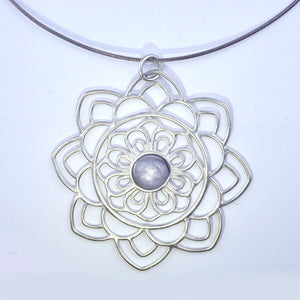 Large Mandala Star Sapphire Silver Necklace, September birthstone