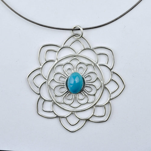 Large Mandala Turquoise Silver Necklace, December birthstone