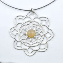 Large Mandala Grey Moonstone Silver necklace, June birthstone