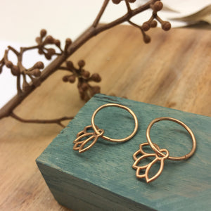 9ct Rose gold small Lotus hoops
