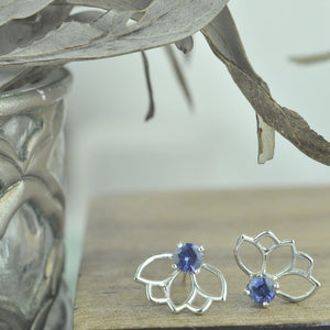 Lotus Blue Sapphire Silver earring, September birthstone