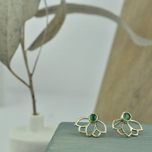 9ct Yellow gold Emerald Lotus studs, May Birthstone