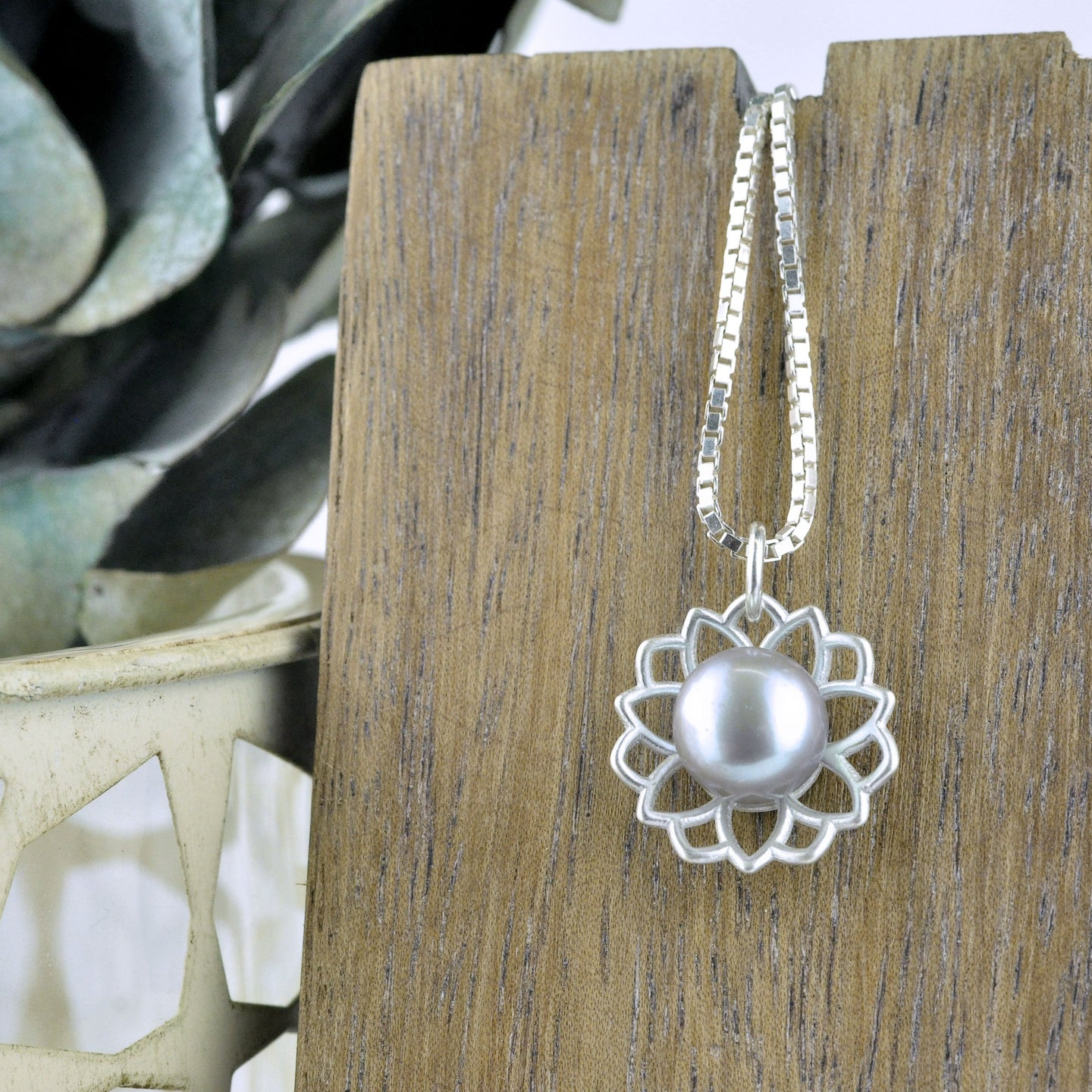 Lotus flower Grey pearl silver necklace, June birthstone