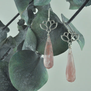 Lotus drop pink bead Silver earrings