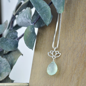 Lotus drop Mint Green Chalcedony Silver pendant