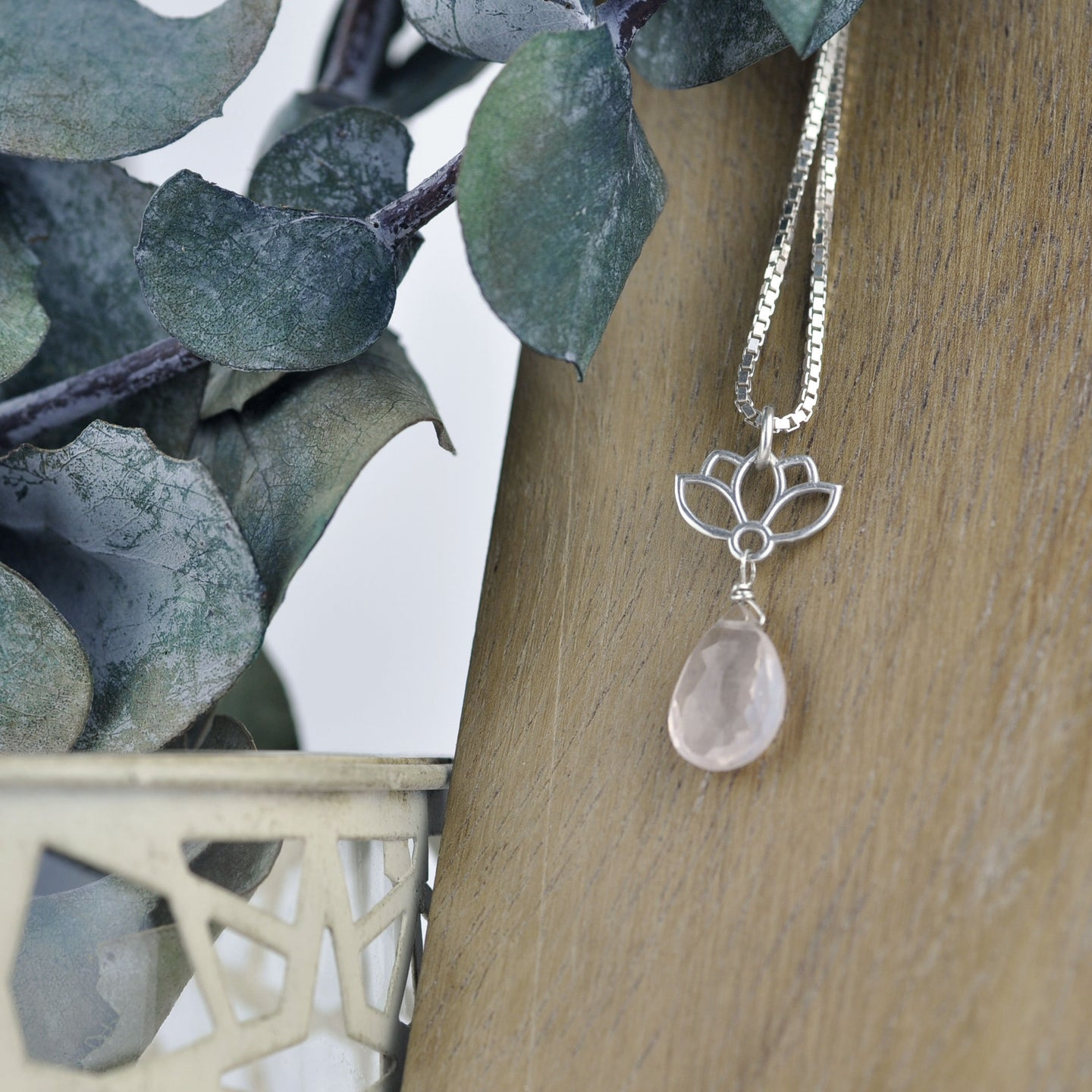 Lotus drop Rose Quartz Silver Necklace