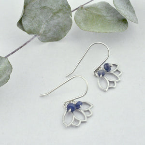 Blue Sapphire bead silver lotus earring, September birthstone.