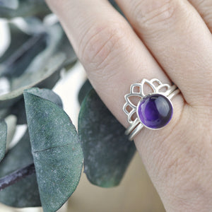 Large Amethyst Silver ring and fitted Sun enhancer ring.