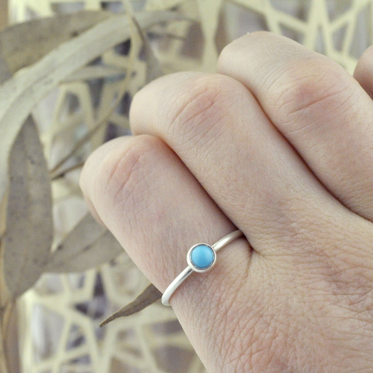 Turquoise sterling silver stacking ring.