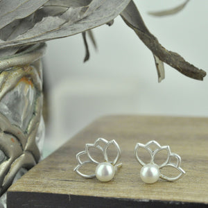 White pearl flower stud earrings in solid sterling silver, June birthstone gift.