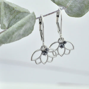Black diamond bead silver lotus earring, April Birthstone