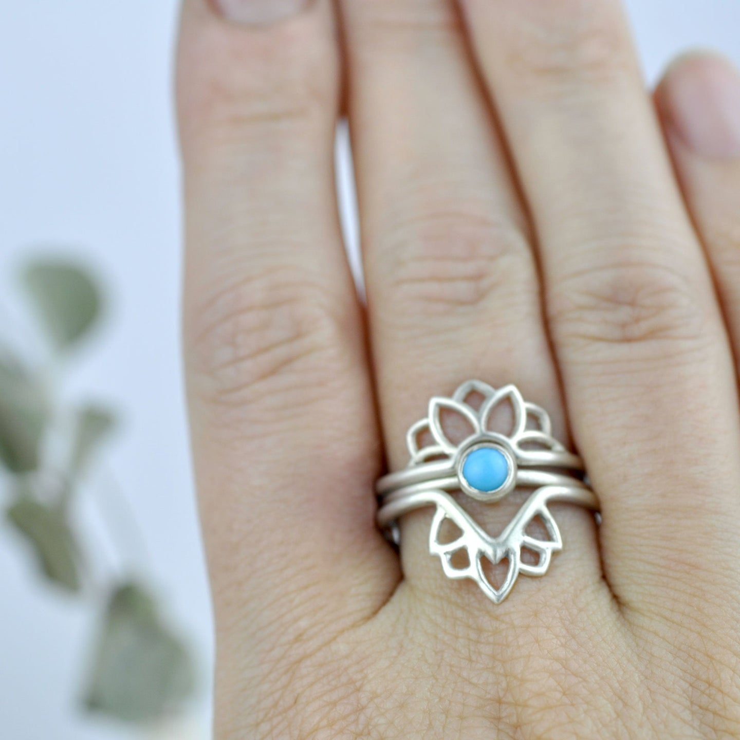Turquoise Silver Stacking Ring Set.