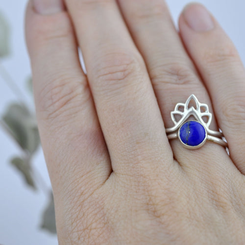 Lapis Lazuli Silver Flame Fitted Ring set