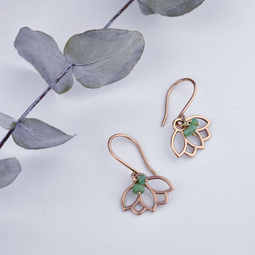 9ct Rose Gold Emerald Lotus Earring.