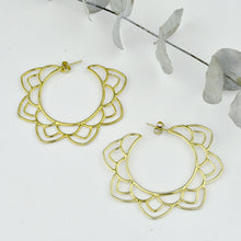 Large Gold statement Mandala hoops, Unique handmade earrings, gold plated silver.