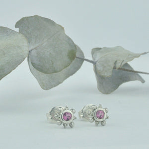 Tiny Pink sapphire silver earring, single or pair