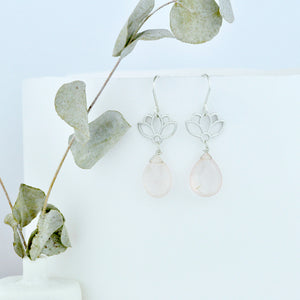 Rose Quartz earring, sterling silver lotus dangle earrings.