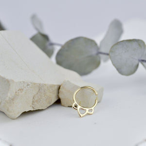 Tiny solid 9ct yellow gold hoop, Single lotus recycled small sleeper earring, for piercings.