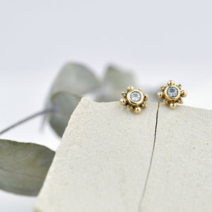 Single or pair Tiny Diamond 9ct Gold stud earrings, April birthstone.