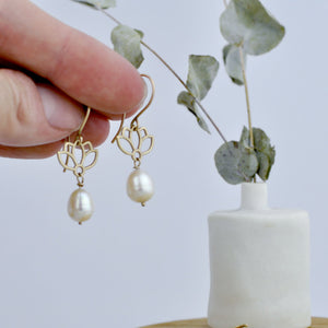 9ct Gold Pearl earrings, Lotus natural white pearl drop, June birthstone.