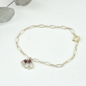 9ct Yellow Gold Ruby Lotus Charm Bracelet