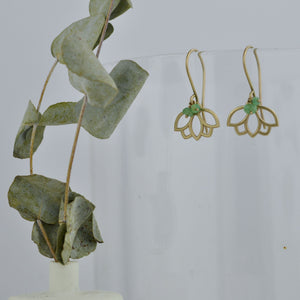 9ct Yellow Gold Emerald Lotus Earring, natural gemstone bead, May birthstone.