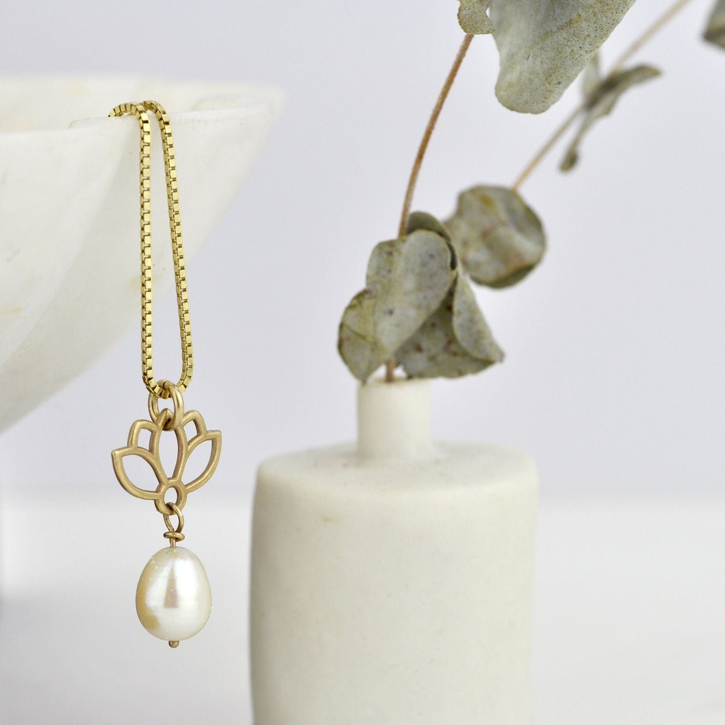 9ct Yellow Gold Lotus Pearl necklace, Natural white Pearl drop layering pendant, June birthstone.