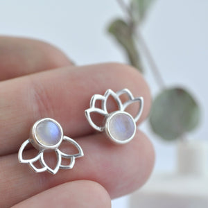 Moonstone silver studs, Lotus Rainbow moonstone earring, Sterling Silver