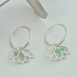 Emerald hoops silver lotus earring, May birthstone.