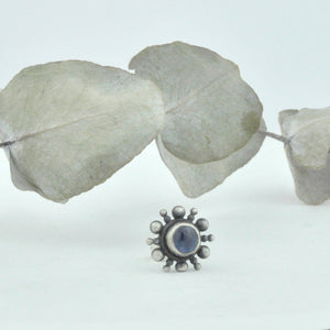 Single earring Blue sapphire silver starburst stud, recycled sterling silver.