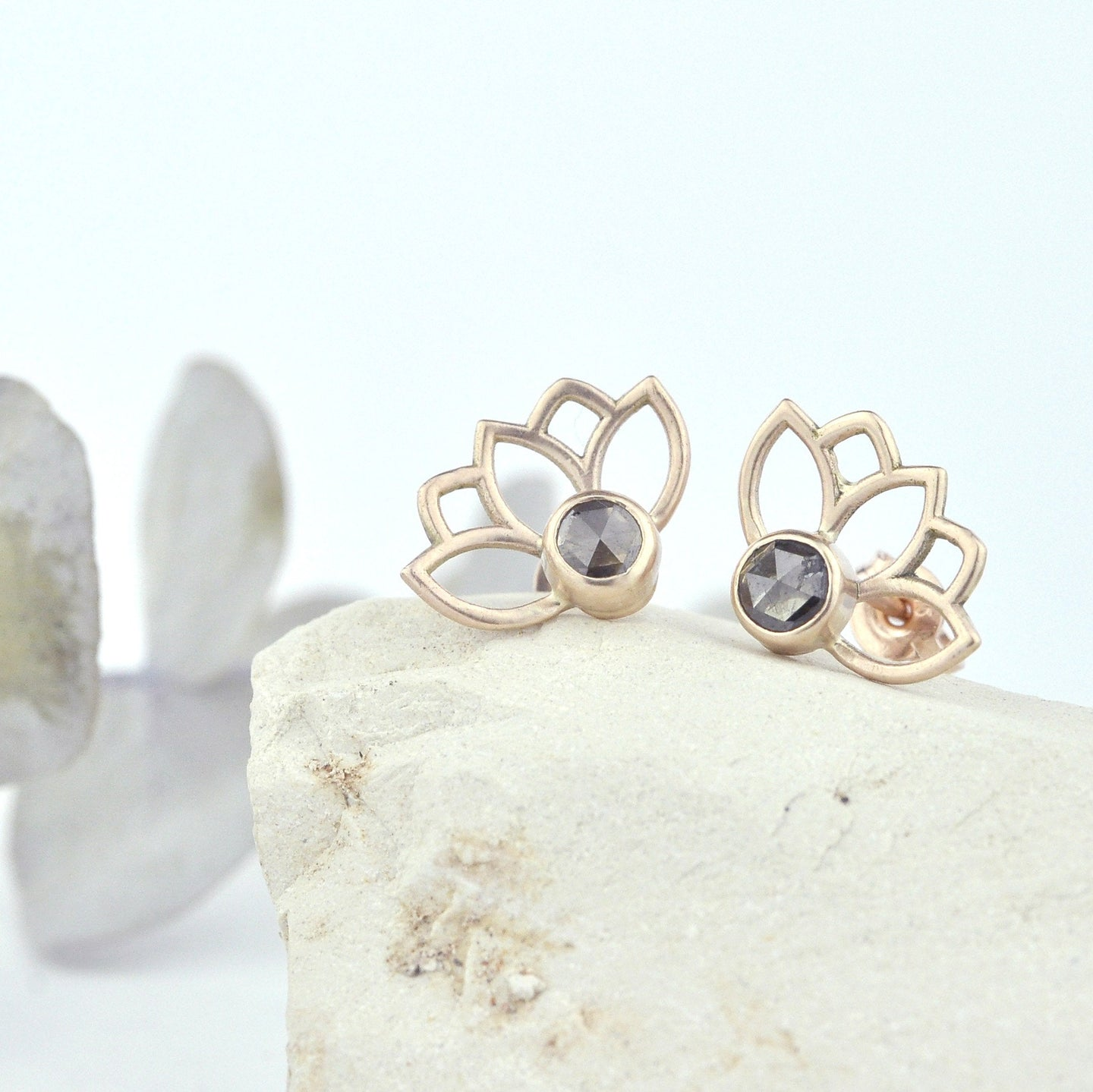 9ct solid rose gold earrings with Rose cut Cognac diamond.