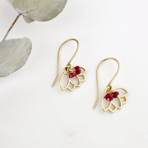 9ct Yellow Gold Ruby Lotus Earring, natural gemstone bead, July birthstone.
