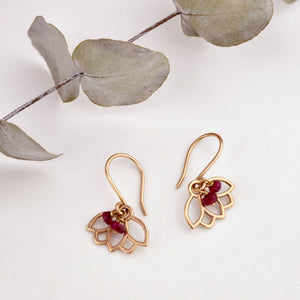 9ct Rose Gold Ruby Lotus Earring, natural gemstone bead, July birthstone.