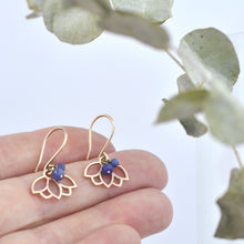9ct Rose Gold Sapphire Lotus Earring, September birthstone.