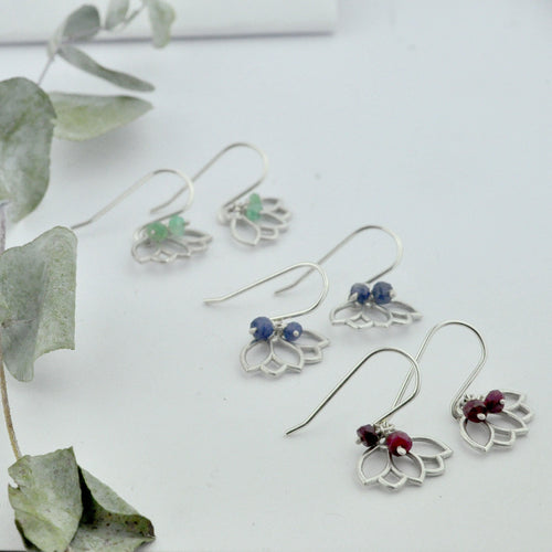 Gemstone Birthstone sterling silver earrings with Lotus petal charm.