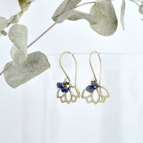 9ct Yellow Gold Sapphire Lotus Earring, September birthstone.