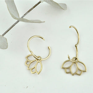 Solid 9ct gold small sleeper hoop, Lotus petal earring.