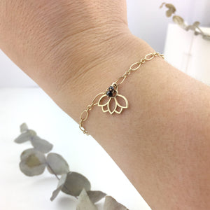 9ct Yellow Gold Black Diamond Lotus charm Bracelet