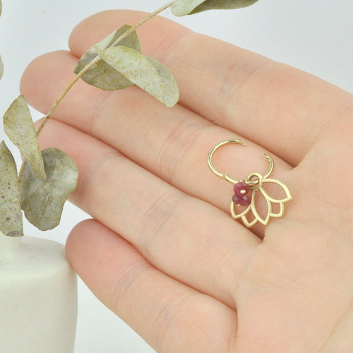 Single small 9ct gold Ruby cartilage hoop earring, Lotus charm, July birthstone