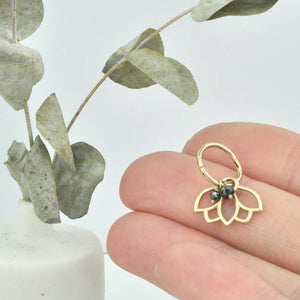 Single small 9ct gold Black Diamond hoop earring, Lotus charm, April birthstone