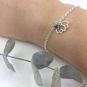 Tourmaline or Opal October Birthstone sterling silver bracelet with Lotus petal charm.