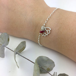 Ruby July Birthstone Silver Lotus Charm Bracelet