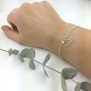 Delicate Pearl sterling silver bracelet June Birthstone with Lotus petal charm.