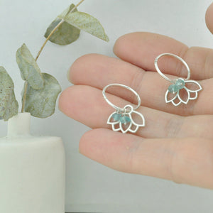 Aquamarine small hoops silver lotus earring, March birthstone.