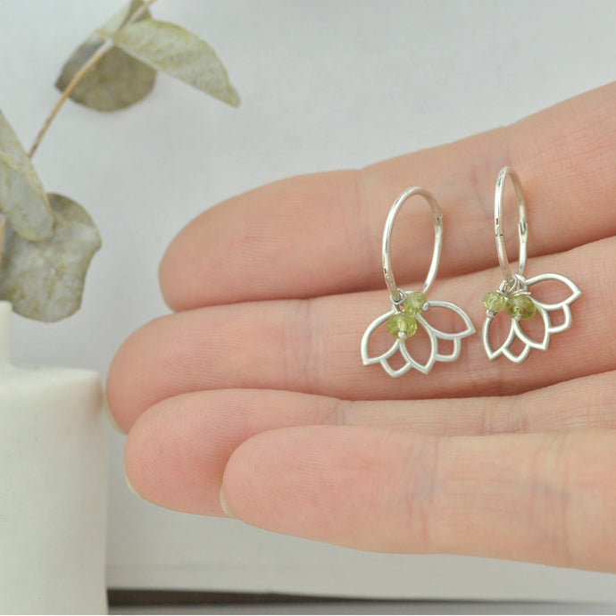 Peridot August birthstone solid silver sleeper hoops, lotus charm.