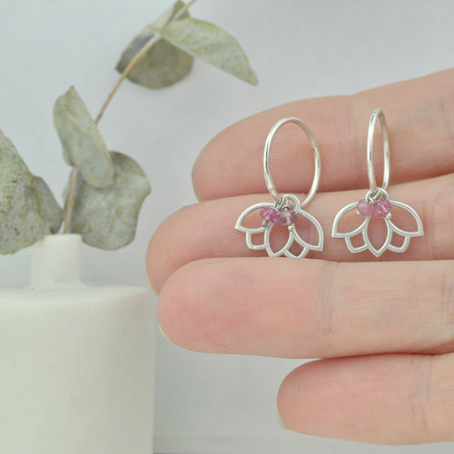 Pink Tourmaline October birthstone solid silver sleeper hoops, lotus charm.