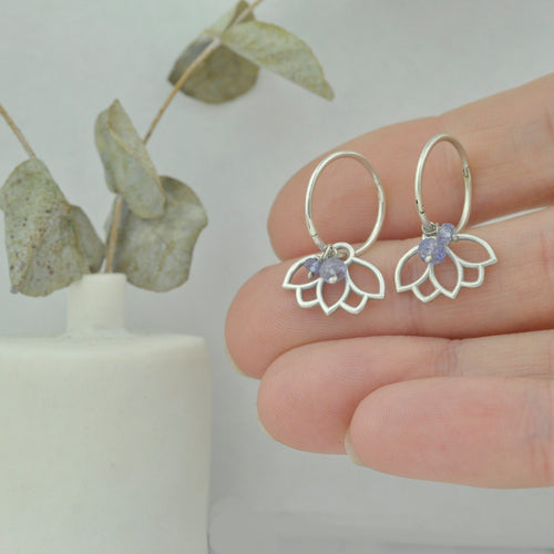 Tanzanite December birthstone solid silver sleeper hoops, lotus charm.